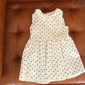 Cream dress with brown hearts